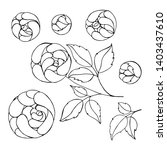 set flowers   pions  botanical...   Shutterstock .eps vector #1403437610