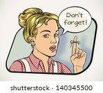 young woman is reminding... | Shutterstock .eps vector #140345500