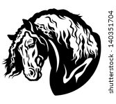 draft horse head black and... | Shutterstock .eps vector #140351704