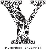 Floral Initial Capital Letter Y