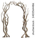 rustic arch with tree branches. ... | Shutterstock .eps vector #1403564486
