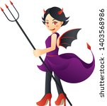 illustration of a cute devil... | Shutterstock .eps vector #1403568986