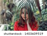 walk with a young girl in the...   Shutterstock . vector #1403609519