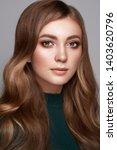 brunette girl with long healthy ... | Shutterstock . vector #1403620796