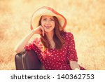 redhead girl with suitcase... | Shutterstock . vector #140362753