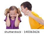 Small photo of Quarreling kids - boy shouting to girl - isolated