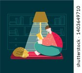 a man in a dark room reading a ... | Shutterstock .eps vector #1403649710