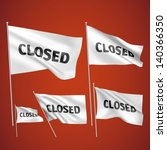closed   white vector flags. a... | Shutterstock .eps vector #140366350