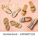 Stock photo variety of trendy woman s summer shoes flat lay of espadrilles sandals flip flops made of 1403687126