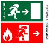 green emergency exit sign  icon ... | Shutterstock .eps vector #140369518