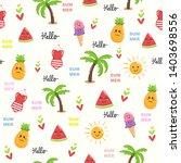 cute beach theme summer doodle... | Shutterstock .eps vector #1403698556