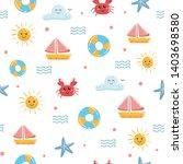 cute summer doodle seamless... | Shutterstock .eps vector #1403698580
