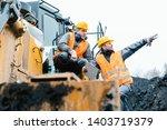 foreman showing worker in open...   Shutterstock . vector #1403719379