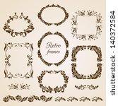 set of vintage floral frames | Shutterstock .eps vector #140372584