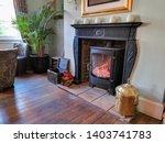 Log Fire Inside A Great House...