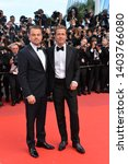 """Small photo of CANNES, FRANCE. May 21, 2019: Brad Pitt & Leonardo DiCaprio at the gala premiere for """"Once Upon a Time in Hollywood"""" at the Festival de Cannes. Picture: Paul Smith / Featureflash"""