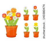 colorful flowers in pots | Shutterstock .eps vector #140380474
