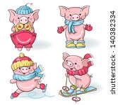 vector set   funny cartoon  pigs | Shutterstock .eps vector #140382334