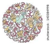 floral bird round vector... | Shutterstock .eps vector #140384998