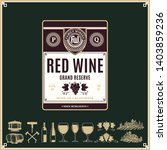 vector vintage red wine label.... | Shutterstock .eps vector #1403859236