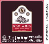 vector vintage red wine label.... | Shutterstock .eps vector #1403859239