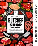 butcher shop bbq meat and... | Shutterstock .eps vector #1403880629
