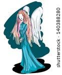 strange melancholic angel  ... | Shutterstock . vector #140388280