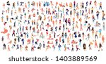 Stock vector crowd of flat illustrated people dancing surfing traveling walking working playing people set 1403889569