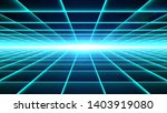 horizontal cyan grid tunnel... | Shutterstock . vector #1403919080