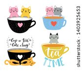 vector collection with cats and ... | Shutterstock .eps vector #1403925653