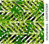 tropical green leaves on an... | Shutterstock .eps vector #1403952569