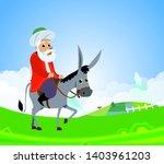 nasreddin hodja and donkey on... | Shutterstock .eps vector #1403961203