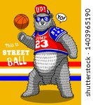 cute funny bear basketball... | Shutterstock .eps vector #1403965190