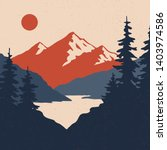 vintage mountain landscape.... | Shutterstock .eps vector #1403974586