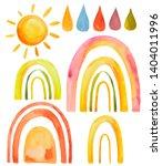 watercolor set sun rainbow drops | Shutterstock . vector #1404011996