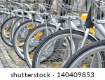Bicycles For Rent Parked On The ...