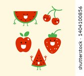 cute smiled red fruit characters | Shutterstock .eps vector #1404100856