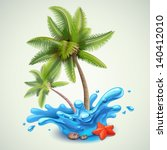 water splash with palms | Shutterstock .eps vector #140412010