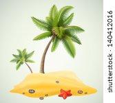 sunny palm beach | Shutterstock .eps vector #140412016