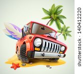 summer jeep car on beach with... | Shutterstock .eps vector #140412220