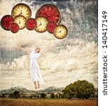Woman tied to clocks floating away on an antique or grunge background, time concept