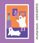 the child who scares the ghost... | Shutterstock .eps vector #1404183920