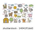 farm animals set icon pictogram.... | Shutterstock .eps vector #1404191660