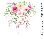 floral decor with tender pink...   Shutterstock .eps vector #1404251789