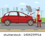 broken vehicle on road flat... | Shutterstock .eps vector #1404259916