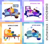 after work  rest at home ... | Shutterstock .eps vector #1404284843