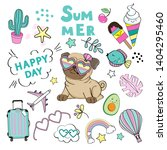 funny pug in glasses and the... | Shutterstock .eps vector #1404295460