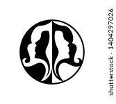 twin women's logos in a circle  ... | Shutterstock .eps vector #1404297026