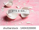 baby shower concept. girl  pink....   Shutterstock . vector #1404320000