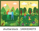 children playing in forest... | Shutterstock .eps vector #1404334073
